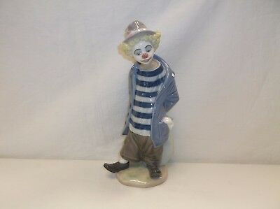 Lladro Figurine 7602 Little Traveler Hobo Circus Clown with Bag Excellent!