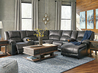 INTRIGUE 7pcs Living Room Faux Leather Reclining Sofa Couch Chaise Sectional Set