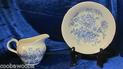 c1930s Alfred Meakin Charlotte pattern in Blue Cream Pitcher & Fruit Nappy Staff