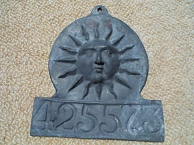 19th c. ENGLISH LEAD FIRE INSURANCE PLAQUE - REPRODUCTION FOR SUNFIRE INS. CO.