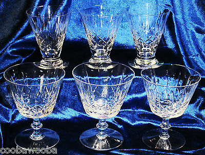 Discontinued Royal Brierley Cross & Olive Crystal 3 Fruit Glasses & 3 Champagne