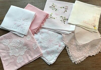 A+ Vintage Lot 7 Lace & Embroidered PInk Hankies Handkerchiefs Bridal Wedding