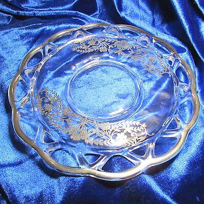 "c1940s Imperial Glass Lace Edge Silver Overlay 8.5"" Sandwich Lunch Plate"