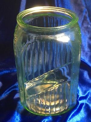 "7"" Vaseline Uranium Hoosier Ribbed Canister Tea Caddy / No Lid Good Plus"