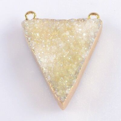 Triangle Natural Agate Druzy Titanium AB Connector Gold Plated H102711