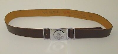 Wolf Cubs Canada Leather Belt Vintage Silver Tone Buckle Size 28 Brown Boy Scout