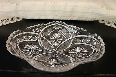 Vintage Pressed Glass Oval Clear Relish Pickle Dish