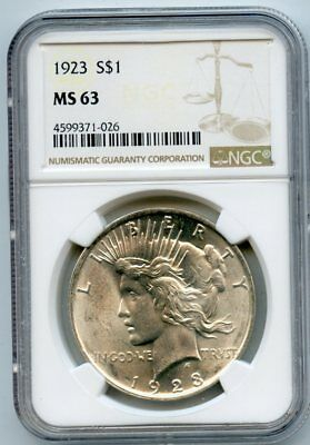 1923 Silver Peace Dollar MS 63 NGC