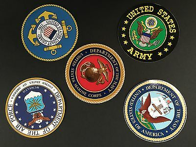 """Set Of 5-4"""" Round Military Insignia Stickers Decals Navy Army Marines Air Force"""