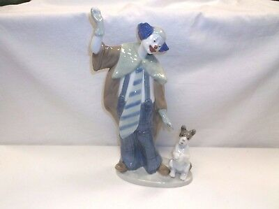 "Lladro Nao Ringmaster Clown With Ball & Dog 11 1/2"" Tall Figurine Excellent!"