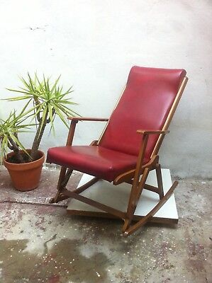 1960s mid Century Vintage wood faux Leather folding Rocking Chair armchair WOW!