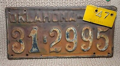 Oklahoma License Plate 1946 with 1947 Metal Decal