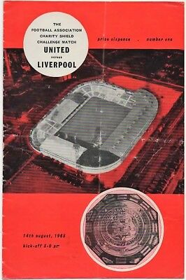 1965-Manchester-Man United-Utd V Liverpool Fa Charity Shield Programme-@old Traf