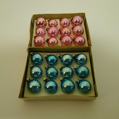 Mini Christmas Ball Ornaments Two Boxes of 12 Pink and Light Blue Vintage Japan