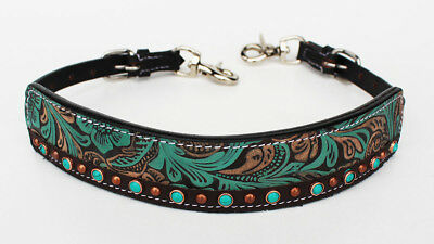 Western Leather Wither Strap Breast Collar Tooled Show Tack Turquoise 105M80222