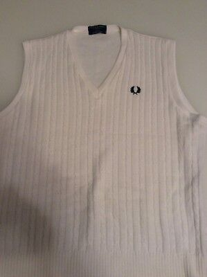 Mens Vintage Fred Perry Sportswear Cricket Cable Knit Sweater - Size Xl