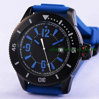 43mm PVD Case Mens Auto Watches Sterile Dial Sub Style Blue Rubber Strap 02