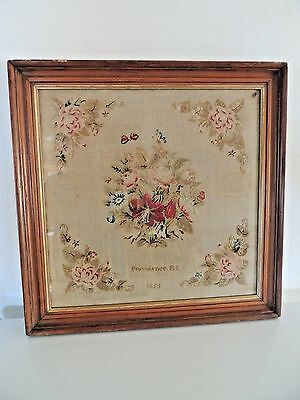 Antique 1855 Hand Embroidered Sampler Providence RI Embroidery