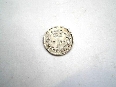 EARLY -VICTORIAN SILVER MAUNDY 1 PENCE COIN FROM THE UK DATED-1866-high grade