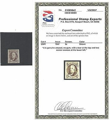 US 1847 Scott #1 Franklin Mint Stamp with 2007 PSE certificate!