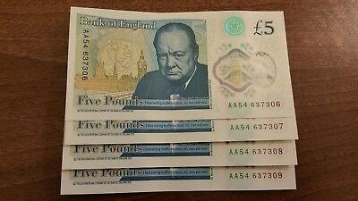 PRISTINE! 4 Consecutive £5 Polymer Notes | AA54 Serial Number | Charity Auction!
