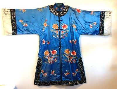 Antique Chinese Embroidered Silk Robe Figural Sleeve Bands Metal Buttons