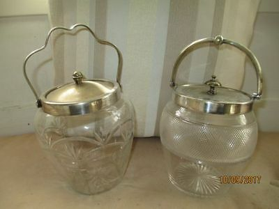 Vintage crystal + silver plate biscuit barrels (2) in very good condition.