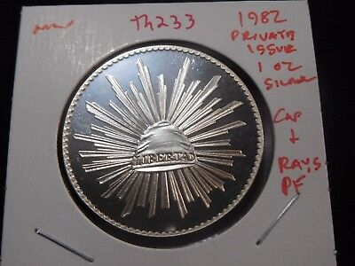 INV #Th233 Mexico 1982 Private Issue Silver 1 Oz. Cap & Rays Proof