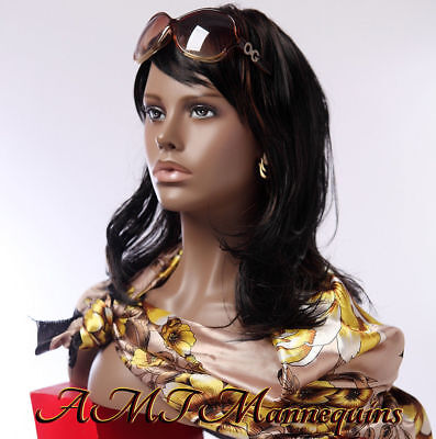 Female bust mannequin head, Lifesize African lady's hand made fiberglas head-HFO