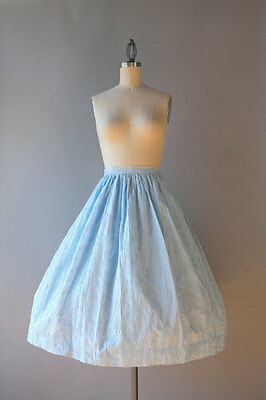 Original Vintage 1950s Light Blue Cotton Full Skirt with Floral Embroidery