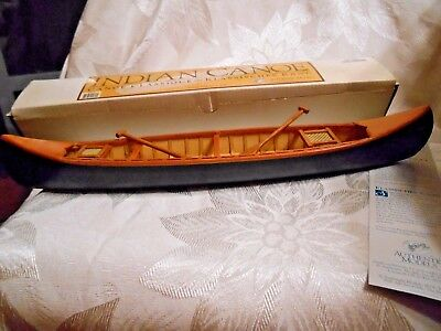 "Authentic Models Indian Canoe  14.5"" in Original Box with Paddles & Netting"