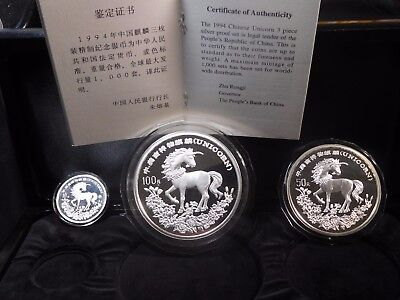 China 1994 Silver Unicorn Proof Set w/ COA ; Capsules are Cracked But Coins Ok
