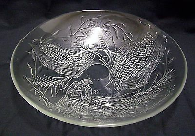 Vintage French Glass Fruit Bowl Corn Wheat Design Signed Exc Con