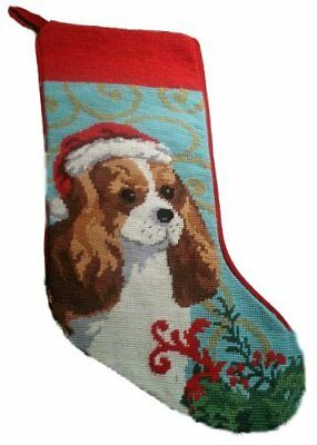 Blenheim Cavalier King Charles Spaniel Dog Needlepoint Christmas Stocking