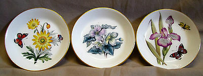 Royal Worcester Porcelain Pin Trays X3 Floral England Exc Con
