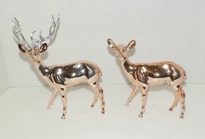 Vintage Hard Plastic Reindeer and Fawn Christmas Figures Metallic Rose Gold