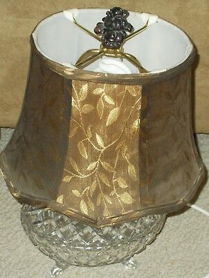 Very Nice Footed Crystal Table Lamp With Shade