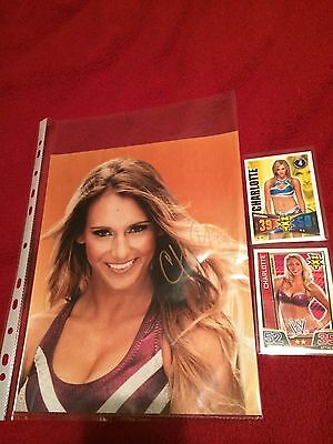Nxt/wwe Charlotte Flair/ashley Fliehr/signed Photo/8X10 Plus 2 Trading Cards/wcw