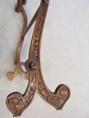 Australian Antique Cedar Towel Rail Art Nouveau Carved Gumnuts and Gum Leaves