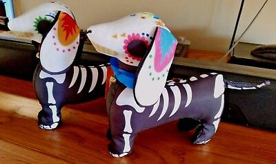 Set of 2 Halloween Day of the Dead or Sugar Skull Dachshund Sausage Dog Figures