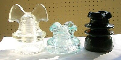 Powerfully Nice TRIFECTA of POWER Distribution Style Glass Insulators of Olde