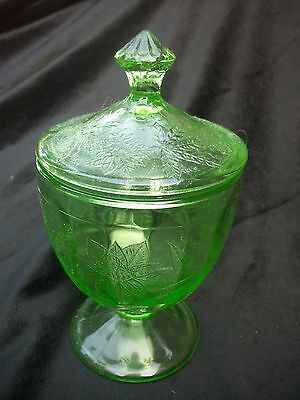 Green Depression Glass Footed Candy Dish Poinsettia Floral