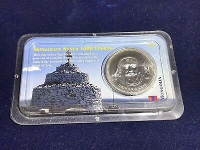 2002 Mongolia Genghis Khan 1000 Togrog 1 oz .925 Silver Coin Littleton Show Pack