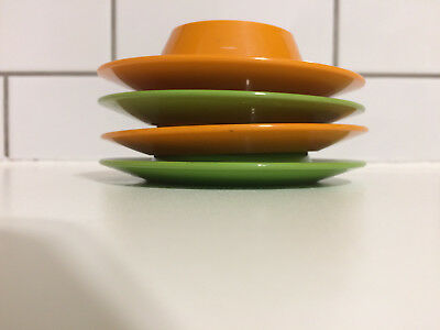 4 Vintage 60s 70s ORANGE GREEN Stacking Plastic Egg Cups Retro Midcentury Modern