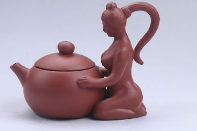 Exquisite Chinese Hand carving beautiful woman Yixing red stoneware teapot aa542
