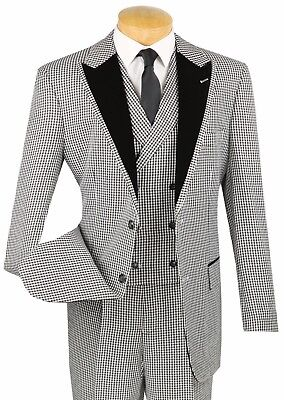 Men's Black Houndstooth 3pc Classic Fit Suit w/ Fancy Velvet Lapel & Trim NEW
