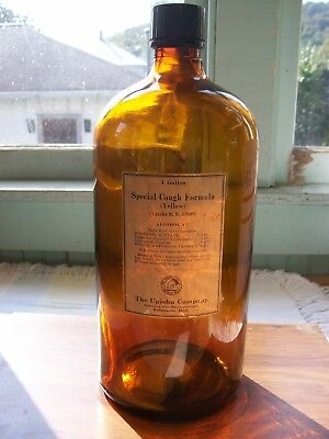 Antique Vintage 1 Gal Amber Apothecary Pharmaceutical Bottle With Lable Upjohn