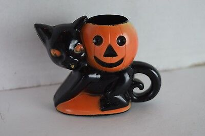 Vintage ROSBRO Halloween BLACK CAT & Pumpkin CANDY CONTAINER hard Plastic 1940's