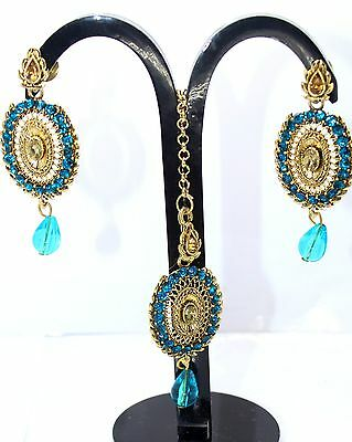 D168 NEW Stylish Gold Plated  Dangle Partywear Wedding Earring & Maang Tikka Set