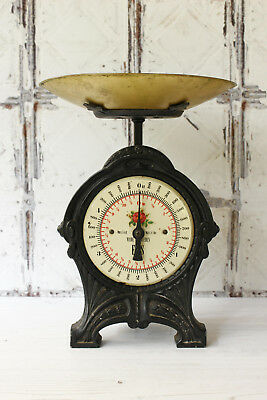 Vintage Cast Iron Household Scale and Pan ~ Original Black Paint ~ from Sweden